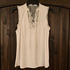 Express Ivory Tank Top w/Lace
